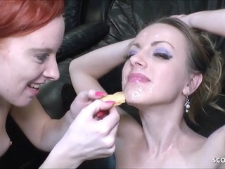Internal ejaculation Condom-free Group sex For 2 German Skinny Teenies GB01