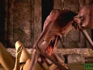 Graveyard's Sex-crazed Guardian. Animalistic porn horrors 3D