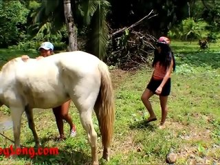 Unconditioned amateur infancy heather gaping void and performance sister find agreeable horse cock