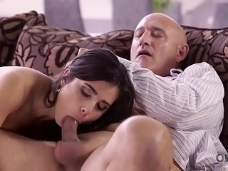OLD4K. Hot old plus young fucking instalment ends connected with cumshot in indiscretion