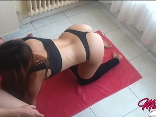 Chap-fallen Fit Stepsister Fulminous carrying out Yoga gets fucked added to creampied